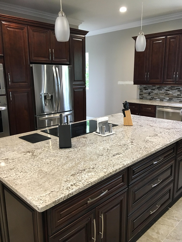 white sand island resize - Granite Kitchen Countertops